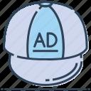 ad, advertising, cap, company cap, fashion, headwear icon