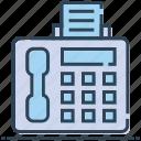 facsimile, fax, machine, telefax, telephone icon