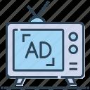 ad, advertising, media, promote, television, tv icon