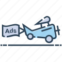 advertisement, aerial advertising, air ads, aircraft, plane icon