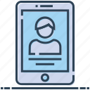 mobile, profile, video call, video chat, video chatting icon