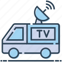 antenna, board casting, news van, ob truck, satellite van, transport icon