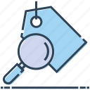 label, magnifier, magnifying glass, search, seo tag, tag icon
