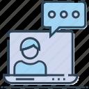 communication, discussion, laptop, message, speech bubble, talking, user icon