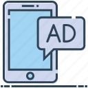 ad, advertising, message, mobile advertisement, mobile publicity icon