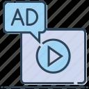 ad, advertising, media, multimedia, video icon