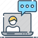 communication, discussion, laptop, message, speech bubble, talking, user