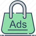 ads, advertising, bag, purse, shopping ads, shopping bag icon