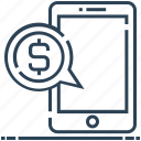 business, chatting, dollar, message, mobile, talk icon