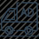 advertisement, advertising van, marketing, transport, van icon