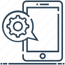 cellphone, configuration, gear, message, mobile settings, preferences, tool icon
