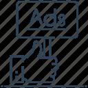 ad board, advertisement, advertising, billboard, hand icon