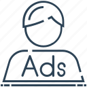 ad, advertising, agent, marketing, person, personal marketing icon