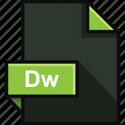 adobe, dreamweaver, dw, extension, format, platform, software icon