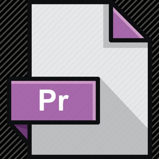 adobe, extension, file, format, pr, premiere, software icon