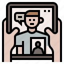 chat, community, facetime, video call, video conference icon