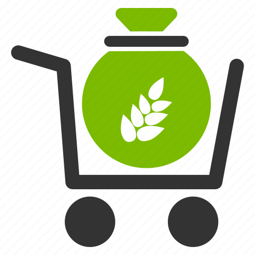 account, agriculture, cart, harvest, money, purchase, shopping trolley icon