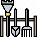 garden, tools, rake, shovel, horticulture