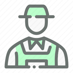 agriculture, character, costume, dress, farmer, hat icon