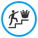 crown, leader, leadership, person, stairs up, steps, success icon