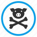caution, danger, dead, hazard, pig death, piggy, skeleton icon
