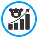 agriculture, analytics, data, graph, growing chart, pig, report icon