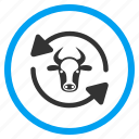 agriculture, recycle, refresh arrows, renew cow, reset, rotate, update livestock icon