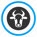 beef, bull, calf head, cattle, cow, horned ox, power icon