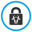 bull, cow, power, protection, safe, secure, strong lock icon