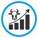 business graph, cattle, chart, cow, data analysis, grow up, statistics icon