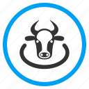 boundary, bull, cattle region, cow area, district, location, zone icon
