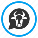 bubble, bull, cloud, cow head, message balloon, opinion, ox icon