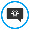 bubble, bull, cloud, cow, message balloon, opinion, ox icon