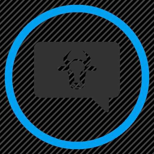 bubble, bull, cloud, cow, message balloon, opinion, ox icon