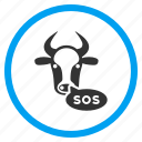 alarm, alert, attention, cow, exclamation, problem, sos message icon