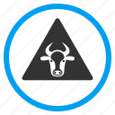 agriculture, alarm, alert, cow, error, fail, warning icon