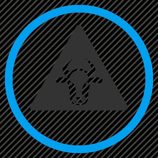 agriculture, alarm, alert, cow, error, fail, warning icon