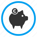 account, banking, euro finance, pig, piggy bank, savings, treasure icon