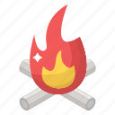 bonfire, campfire, campsite, firewood, outdoor fire icon
