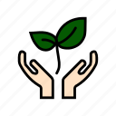 care, ecology, environment, nature, save, save plants, trees icon