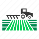 crop, farm, farming, field, plow, plowing, tractor icon