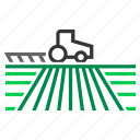 crop, farm, field, land, plow, plowing, tractor icon