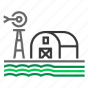 barn, countryside, crop, farm, farming, field, windmill icon