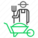 agriculture, farmer, farming, grain, harvest, hay, trolley icon