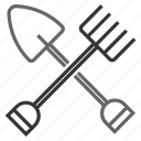 agriculture, farmer, farming, fork, pitchfork, shovel, tools icon