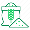 bag, flour, grain, harvest, stock, storage, wheat icon