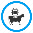 agriculture, animal, cattle, chip, chipping, cow, hardware icon