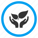 care hands, flora, grow, leaf, plant, protection, sprout icon