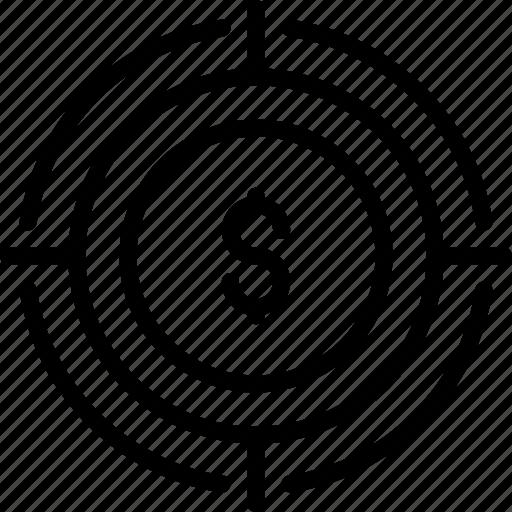 aim, bullseye, center, money, pay per click, strategy, target icon