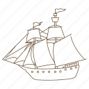 boat, ocean, pirate, sail, ship icon